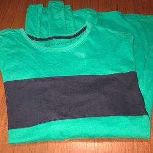 Banana Republic Kelly Green Navy Blue Tee Shirt M